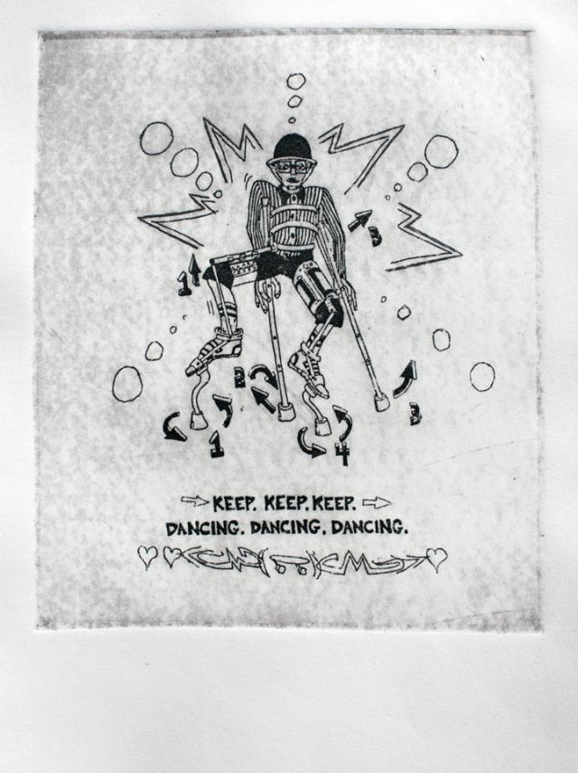 bill shannon whatiswhat intaglio disability performance art crutchmaster